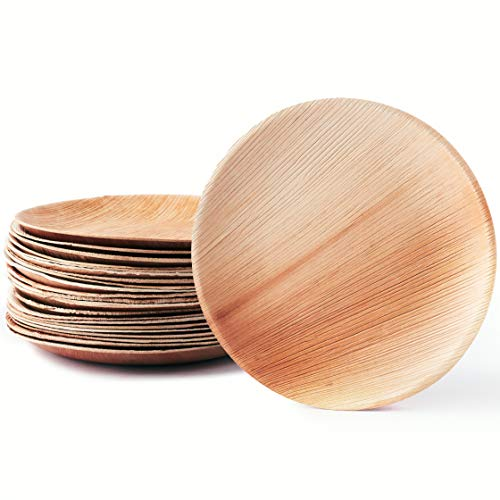 Plantvibes ® natürliche Palmblattteller, edel & umweltfreundlich, unser stilvolles Palmblattgeschirr ist 100% kompostierbar, Einweggeschirr aus Palmblatt, Palmblätter als Einwegteller