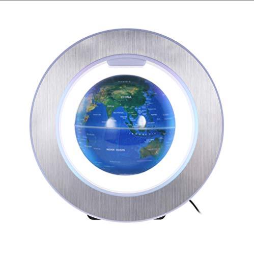 Globos Mapa del Mundo de 6 Pulgadas de levitación magnética Globo terráqueo con Base de Forma Circular de luz de Color LED para decoración de Escritorio de Oficina en casa