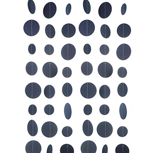 WEVEN Navy Blue Paper Garland Circle Dot Party Banner Streamer Backdrop Hanging Decorations, 20 Feet in Total