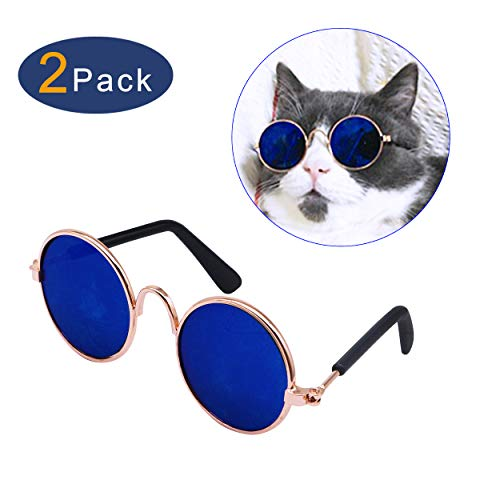 YAODHAOD Pet Dog Cat Gafas de Sol, Classic Retro Round Metal Prince Princess Gafas de Sol Puppy Katie Photo Props Toys (Paquete de 2) (8CM, Azul)