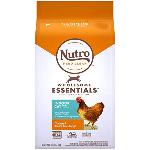 NUTRO WHOLESOME ESSENTIALS Natural Dry Cat Food, Indoor Cat Adult Chicken & Brown Rice Recipe Cat Kibble, 5 lb. Bag