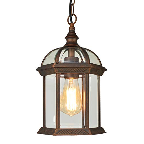 TRPYA Luz Colgante a Prueba de Agua al Aire Libre Antigua, 1 lámpara Colgante de Llama Aluminio y Cristal Transparente Lámpara de jardín Retro Corredor al Aire Libre Luz de jardín
