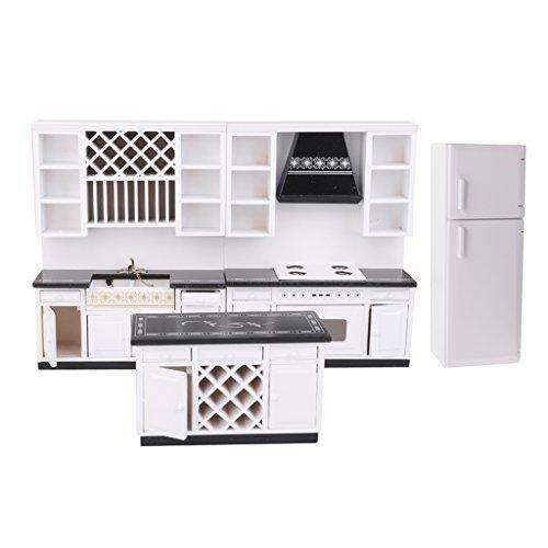 Baoblaze 1:12 Skala Puoppenstube Küche / Esszimmer Möbel Kit - Waschbeckenschrank + Herd Schrank + kleine Schrank + Kühlschrank