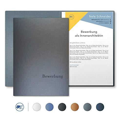 """5 Stück 2-teilige Bewerbungsmappen Esclusiva® Classic in Zink mit 1 Klemmschiene // in 1A-Premium-Qualität mit hochwertiger Flach-Prägung """"BEWERBUNG"""" // Produkt-Design von"""