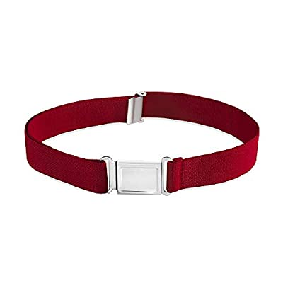 Buyless Fashion Kids Boys Toddler Adjustable Elastic Dress Stretch Belt with Flat Magnetic Buckle - 5099-Red