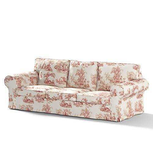 Dekoria Ektorp 3-Sitzer Sofabezug Nicht ausklappbar Sofahusse passend für IKEA Modell Ektorp Creme- rot
