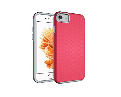 iPhone 7 Case, Hybrid Shock Modern Slim Non-Slip Grip Cell Phone Case for Apple iPhone 7 (2016) (Rose Red)