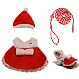 Hamster Clothes Cute Mini Skirt and Hat, Adjustable Hamster Leash, Warm Cozy Cotton Dresses Apparel Fashion Outfit for Rat Birthday Party Daily(Red)