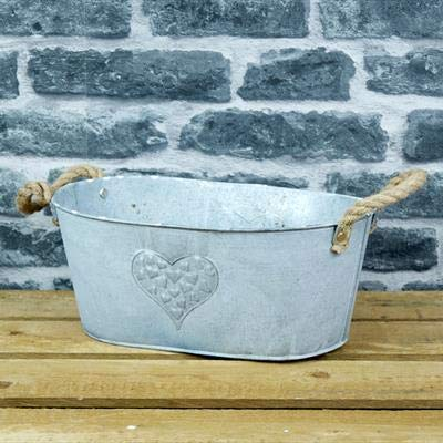 Homes on Trend - Vaso ovale in metallo a forma di cuore in zinco, per erbe aromatiche, tavolo da matrimonio rustico large Argento