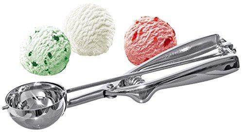 Portionierer aus Edelstahl 18/10, für Eis, Püree, Reis etc., Feder aus Edelstahl 18/0, hochwertige Qualität | ERK (A13 - Ø außen: 31 cm)