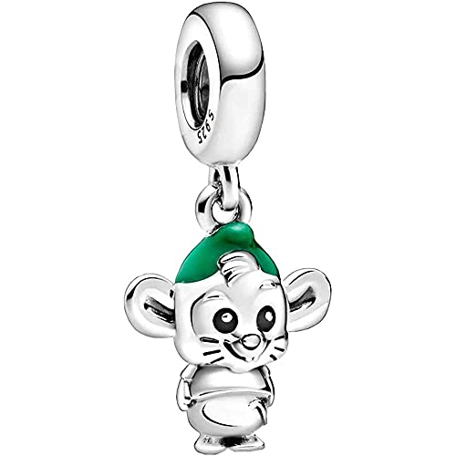 LaMenars Disney Cinderella Gus Mouse Dangle Charm for Pandora Bracelet 925 Sterling Silver Love Bead Charms with Cubic Birthday Anniversary Jewelry Gifts for Women Girls Mom Wife
