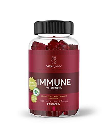 VITAYUMMY ositos de goma del sistema inmunológico, sabor a frambuesa | Vitamina C y zinc | Suplemento vegano, natural y sin gelatina para niños y adultos 60 gomitas, suministro para 1 mes