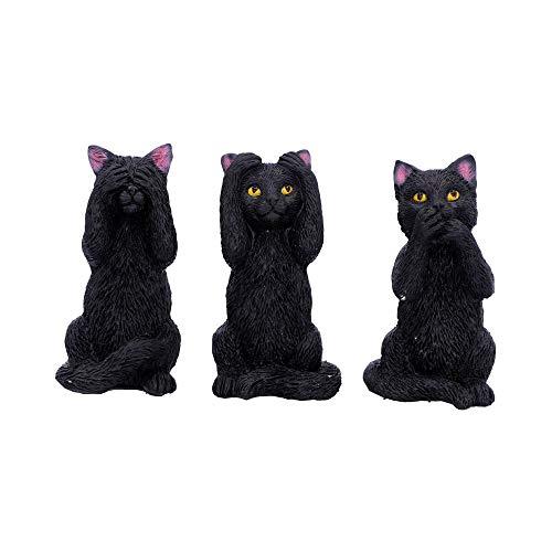 Nemesis Now U4802P9 Tres Wise Felines 8,5 cm, Negro