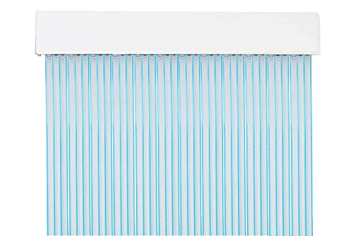 MERCURY TEXTIL MercuryTextil P69 Cortina Puerta PVC 210x90cm Transparente+Filo Azul, 210 x 90cm
