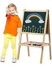 حامل فني خشبي من GoolRC على الوجهين ولوحة المسح الجاف سهلة التجميع مع رف تخزين وإكسسوارات هدية رائعة للأطفال والبنات والأولاد