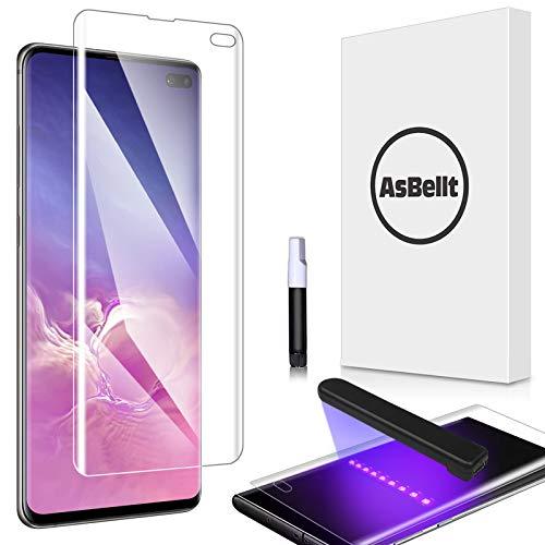AsBellt Protector Pantalla de Galaxy S10 Plus (Pegamento en Toda la Pantalla) (9H Dureza) (Alta sensibilidad),Cristal Vidrio Templado/Protector de Pantalla para Samsung Galaxy S10 Plus