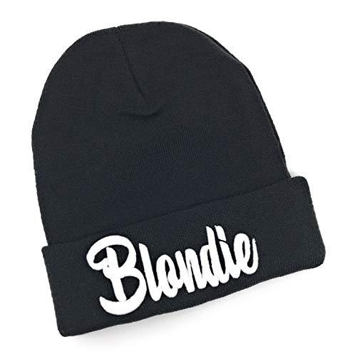 Outfitfabrik Beanie Blondie in schwarz mit 3D-Stick in weiß (warme Wintermütze, Geschenk, Haarfarbe blond), für Männer und Frauen, One Size, dehnbar