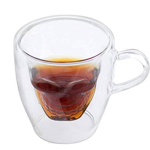 PLAFUETO - Taza de café de doble pared con diseño de calavera con asa para espresso o té, capuchino, chocolate caliente