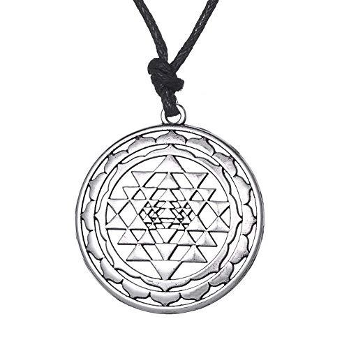 CEXTT Antiguo triángulo talismán Collar Colgante Sobrenatural Nudo Flor de Vida Collar Hombres Colgante joyería egipcia