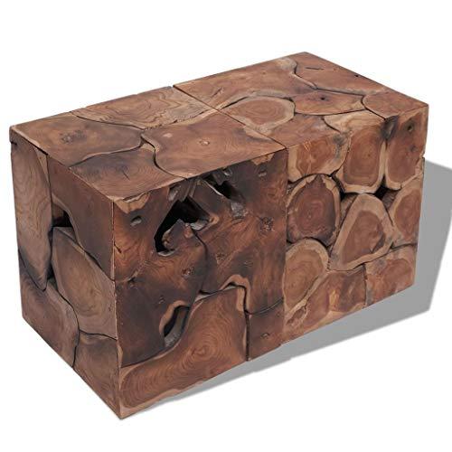 Zora Walter Hecho a Mano marrón Taburete/Mesa Madera Maciza Teca Fu?St ¨ ¹ Tze/Mesa Auxiliar–Rectangle–Talla: 80x 40x 45cm (L x B x H)