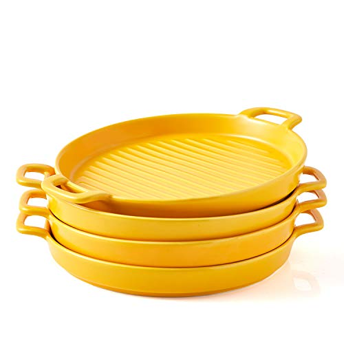 Bruntmor 8 Inch Ceramic Set Of 4 Oven to Table Bakeware Matte Round Baking Dish Grill Dinner Plates, Food Serving Dinner Trays, Yellow