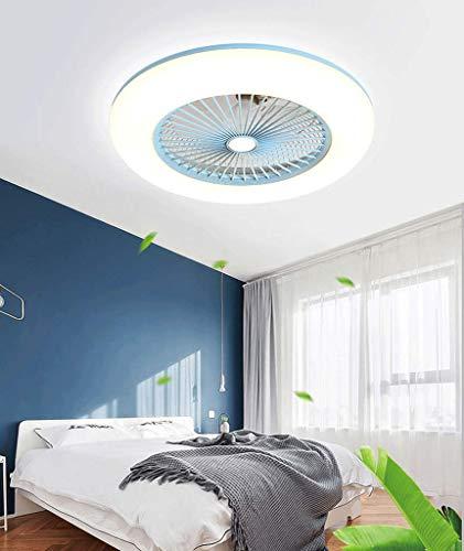 Ventilador De Techo Con IluminacióN Ventilador De Techo Led Luz Velocidad Del Viento Ajustable Control Remoto,Ultra Silencioso Ventilador Luces De Ventilador De Dormitorio,40W Azul