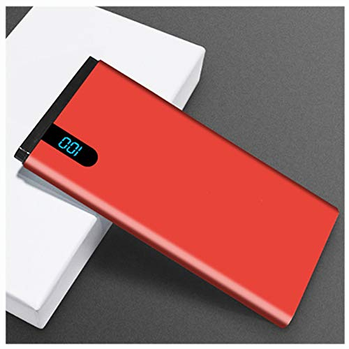 AEU Power Bank 10000Mah Ultradelgado Batería Externa Móvil Cargador Móvil Portátil Cargador Movil Portátil con Pantalla LED Baterías Externas para Móviles Tabletas Y Más,Rojo