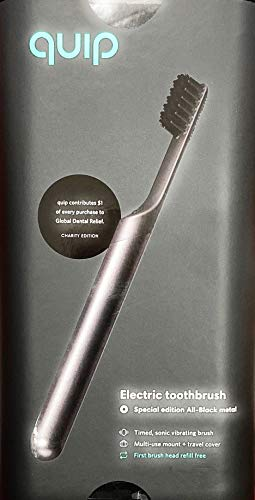 Quip Electric Toothbrush - Black Color - Electric Brush and Travel Cover Mount