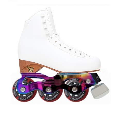 STD SKATES Starlight Inline Skates Pattini per Pattinaggio Artistico Inline di Livello Medio Stivaletto Risport Venus di rigidità 25 con Base Completa Starlight Inline Figure Skating, Bianco, 41