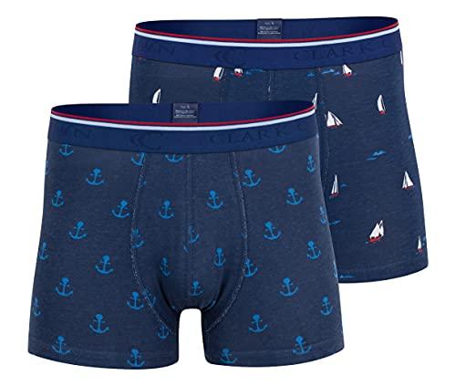 CC Clark Crown 2er Pack - Boxershorts Maritim, Boxer Pants, Bunte lustige Retroshorts, Gr. XL