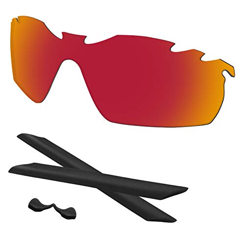Predrox Red Mirror Radarlock XL Vented Lenses & Rubber Kits Replacement for Oakley Sunglass OO9196/OO9170 Polarized