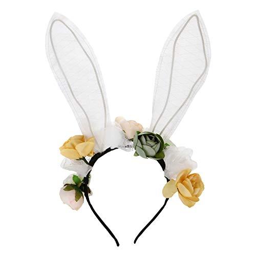 Folora Bunny Oor Hoofdband Bloem Haarbanden Pasen Haaraccessoires voor Kinderen Vrouwen Kids Grils B