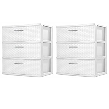 Sterilite 3-Drawer Wide Weave Tower, White, 2-Pack