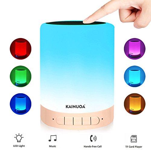 Kainuoa Lámpara Altavoz Bluetooth + Lámpara LED Escritorio Micrófono Dispositivo 6 Colores 3 Modos de Luminosidad para Leer en la Cama y Dormitorios de Niños.