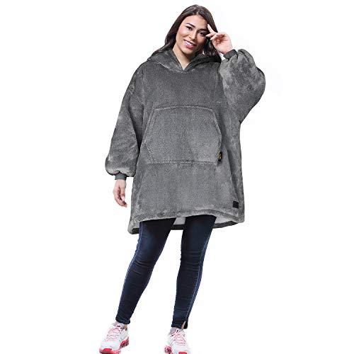 Kato Tirrinia Übergroße Sherpa Hoodie Sweatshirt Decke, SuperWeiche Warme Riesen Hoodie Fronttasche Giant Plüsch Pullover Decke mit Kapuze for Jungen Mädchen Teen Kinder, Aschgrau