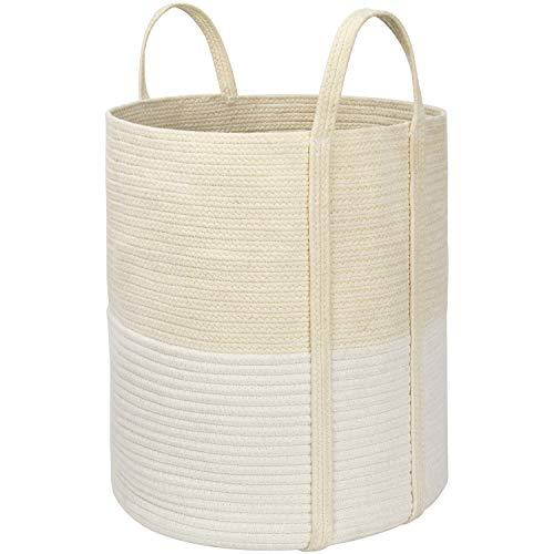 La Jolíe Muse Cesta Ropa Sucia de algodón, Cesta almacenaje de Cuerda de algodón, Cesta Ropa Sucia Bebe, Cesta Toallas baño, Grande, Beige y Blanco, 40,5 cm x 35,5 cm