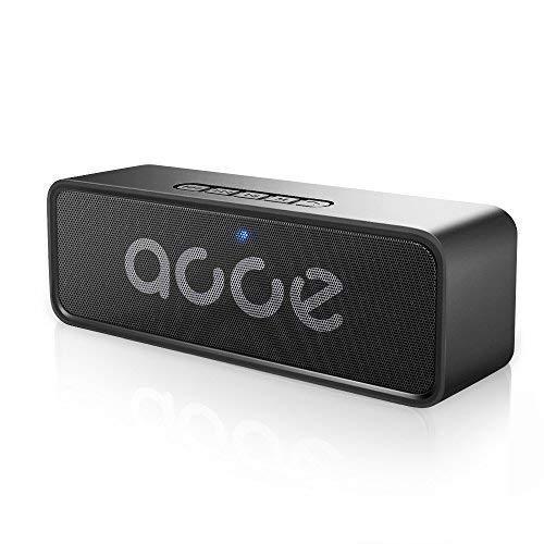 AOOE K116 Bluetooth Lautsprecher Wasserdicht, 6W Dual-Treiber Lautsprecher mit Starke Bässe Eingebaute Rauschunterdrückung Mic 12-Stunden Spielzeit Unterstützen TF/USB (Schwarz)