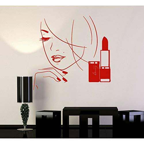 TYOLOMZ Meisje Gezicht Muursticker Make-up Shop Mooie Vrouw Lippenstift Schoonheid Salon interieur Decor Vinyl Window Stickers Mode muurschildering