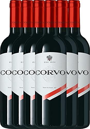 VINELLO 6er Weinpaket Rotwein - Corvo Rosso Terre Siciliane 2019 - DDS mit Weinausgießer   trockener Rotwein   italienischer Rotwein aus Sizilien   6 x 0,75 Liter