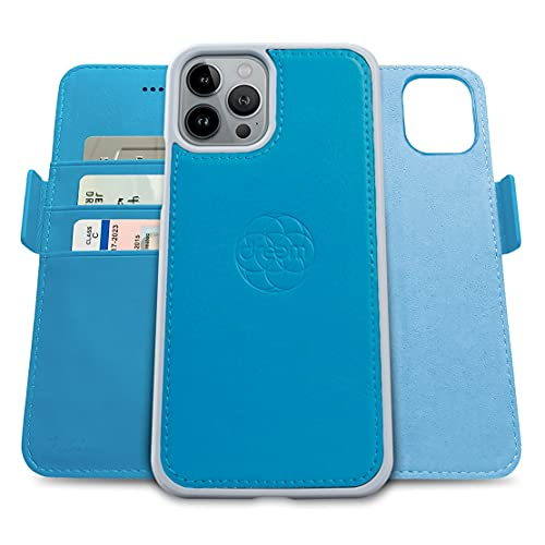 Dreem Fibonacci 2 en 1 Funda iPhone 13 Pro MAX Cuero Vegano Tipo Billetera | Funda Magnética Desmontable a Prueba de Golpes TPU Fino | Protección RFID | Caja de Regalo | Celeste