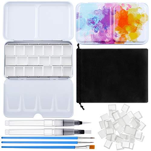 Containlol 57 Piece Watercolor Paint Palette Water Blending Brush Pen Set, Metal Watercolor Palette Box with Lid Empty Watercolor Pan, Hook Line Pen, Brush with Storage Bag for Painting Supplies