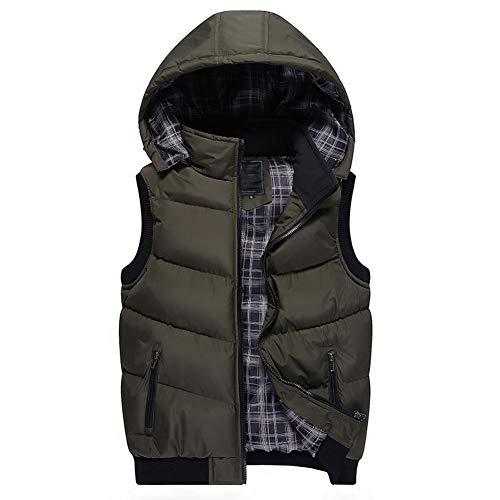 CHIYEEE Heren Winter Gilet Warm Mouwloos Jas Down Katoen Jas Vest Top met Verwijderbare Hood M-5XL