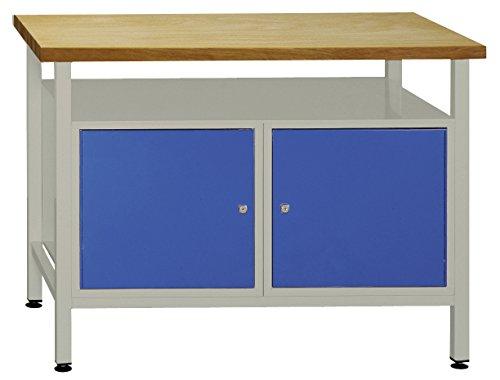 Werkbank mit Buchenholzplatte u. 2 Türen, Industriequalität, 1200x840x600 mm (LxHxT)