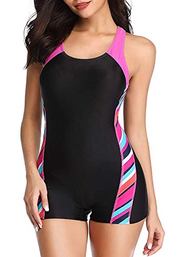sand's coast Womens Boyleg One Piece Athletic Swimsuits with Shorts Sport Lap Bathing Suit Racerback Swimwear for Teens Girl (Black&Pink, Medium)