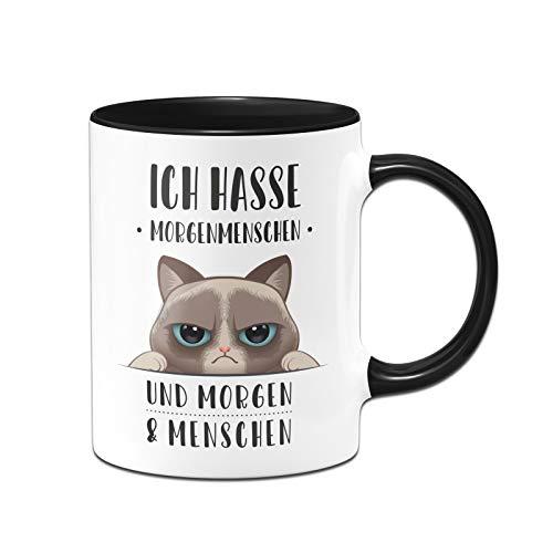 Tassenbrennerei Tasse mit Spruch Ich Hasse Morgenmenschen und Morgen und Menschen - Kaffeetasse lustig mit Katze (Schwarz)