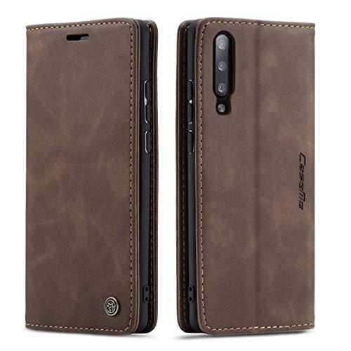 mvced Handyhülle Kompatibel mit Xiaomi Mi 9,Premium Leder Flip Hülle Schutzhülle mit Standfunktion,Kaffee