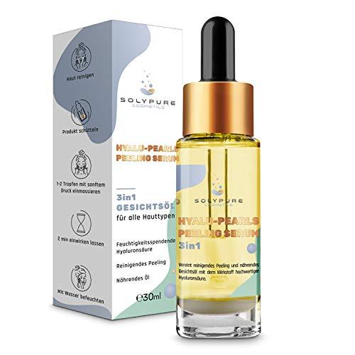 SolyPure Cosmetics® Gesichtsöl – Patentierte 3-in-1 Gesichtspflege mit Hyaluronsäure Serum [30ml] – Bis 10x mehr Hyaluron – Natürliche Inhaltsstoffe – Biologisch abbaubar - Für alle Hauttypen (30ml)