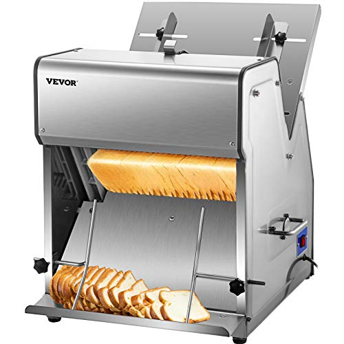 VEVOR Commercial Toast Bread Slicer, 12mm Thickness Electric Bread Cutting Machine, 31PCS Commercial Bakery Bread Slicer, 110V Toast Cutter Cutting Machine, Bread Cutter for Bread Sheet Cutter Cutting