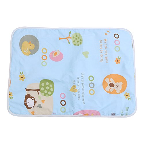 Cuna de bebé Cojín de colchón Infantil impermeable de algodón Cubierta de esterilla de orina Protector de sábanas de pañales Reutilizables Cama de incontinencia( #A paraíso azul )