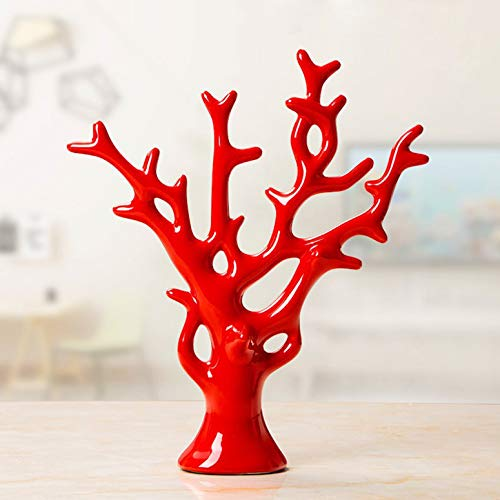 LGYKUMEG Keramik Statue modern Stil schmuck Dekoration Hause Keramik Dekoration skulptur kreative Haus souvenirsammlungen Hochzeit liefert Baum grün Keramik,Rot,30 * 26cm